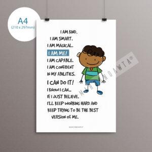 Positive Affirmation Poem Artwork For Boys [UNFRAMED A4 SIZE ONLY]