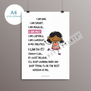 Positive Affirmation Poem Artwork For Girls
