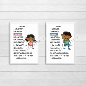 Positive Affirmation Poem Artwork For Boys: A4 Instant Digital Download